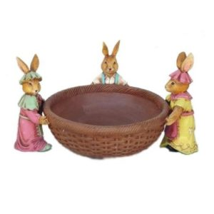 1581 Pasen Three Rabbits with Basket - Paashaas