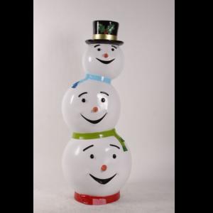 H-180229 Statue Snowman Triple Head - Sneeuwpop