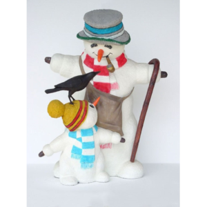 1854 Snowman with Child & Bird 5 ft. - Sneeuwpop