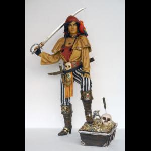 2517 Pirate Lady on Treasure Box - Piraat
