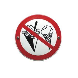 Verboden Bord #V05 Verboden voor etenswaar 10x10cm