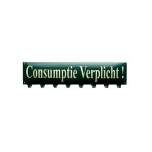 """Kapstok Emaille """"Consumptie Verplicht"""" 19x70cm"""