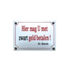 Horeca Emaille #KNH37 Zwart geld 10x14cm