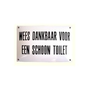 Horeca Emaille #NH57 Schoon toilet 20x30cm