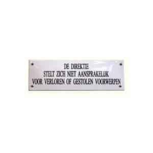 Horeca Emaille #NH30 Aansprakelijk 7x22cm