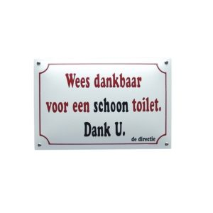 Horeca Emaille #NH63 Schoon Toilet 20x30cm