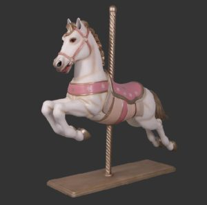 H-160206 Christmas Carousel Horse White - Paard