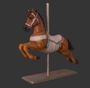H-160206 Christmas Carousel Horse Brown - Paard