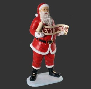 H-10008 Santa with Christmas Banner 5ft - Kerstman
