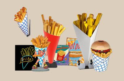 patatzakken frietzakken patatafvalbakken decoraties beelden beeld