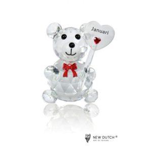 200238 - Crystal Birthstone Bear January - 5 cm