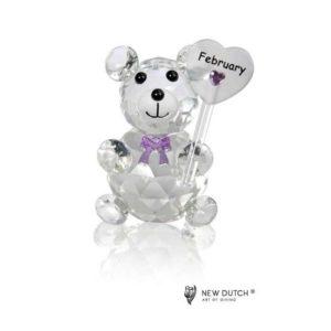 200239 - Crystal Birthstone Bear February - 5 cm