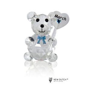 200240 - Crystal Birthstone Bear March  - 5 cm