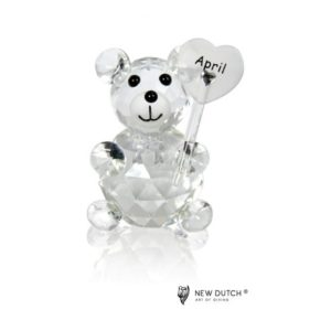 200241 - Crystal Birthstone Bear April - 5 cm