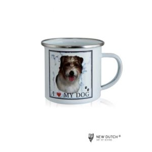 1045 - Metal Mug - Longhaired Jack Russell