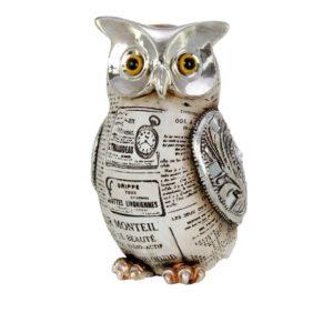 400525 - Old Paper Owl - 9x9x16cm