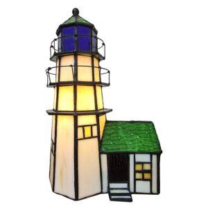 5LL-6007 - Lamp Tiffany Vuurtoren - 15*15*25 cm