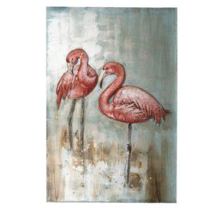 5WA0128 - Wanddecoratie flamingo - 90*60*3.5 cm