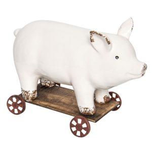6CE0930 - Decoratie varken op wielen - 26*11*17 cm