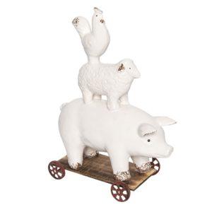 6CE0932 - Decoratie dieren op wielen - 21*11*30 cm