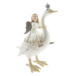 6PR2400 - Decoratie gans met engel - 25*13*30 cm