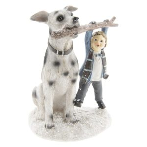 6PR2408 - Decoratie kind met hond - 14*13*18 cm