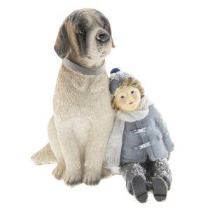 6PR2409 - Decoratie kind met hond - 13*11*15 cm