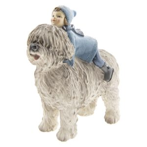 6PR2410 - Decoratie kind met hond - 16*7*17 cm