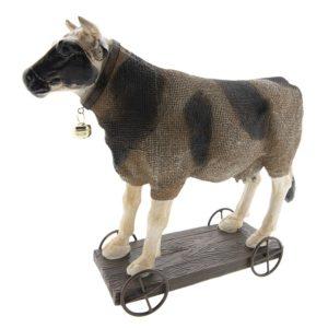 6PR2430 - Decoratie koe op wielen - 31*10*28 cm