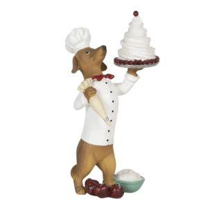 6PR2904 - Decoratie hond met taart - 11*11*24 cm