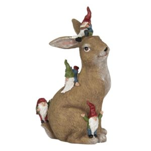 6PR2965 - Decoratie konijn met kabouters - 18*11*30 cm