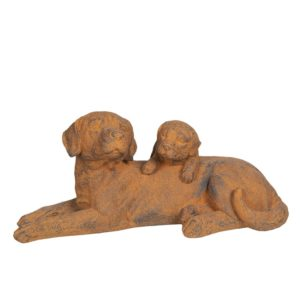 6TE0272 - Decoratie honden liggend - 57*29*26 cm