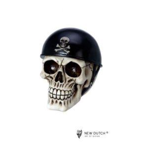 600525 - Skull with Helmet - 11.5x16x14cm