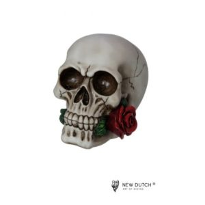 600520 - Skull with Rose - 12x17.5x14cm