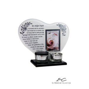 300674 - Waxinehart met mini urn - In mijn hart