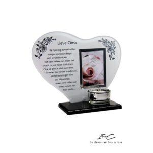 300655 - Waxinehouder Hart Glas - Lieve Oma