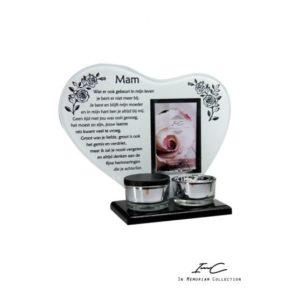 300673 - Waxinehart met mini urn - Mam