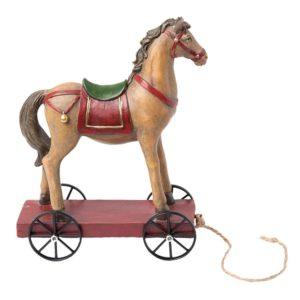 6PR1199 - Decoratie paard op wielen - 15*7*20 cm