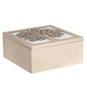 6H1941 - Kist van hout - Theedoos - 20*20*9 cm
