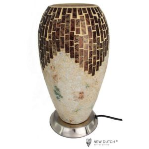 700803 - Mozaïek Creme/Brown Glass Lamp 27 cm