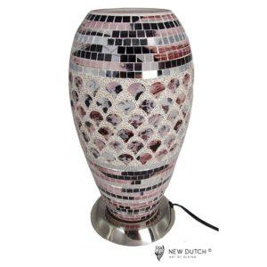 700804 - Mozaïek Glass Pink/Silver Lamp 27 cm